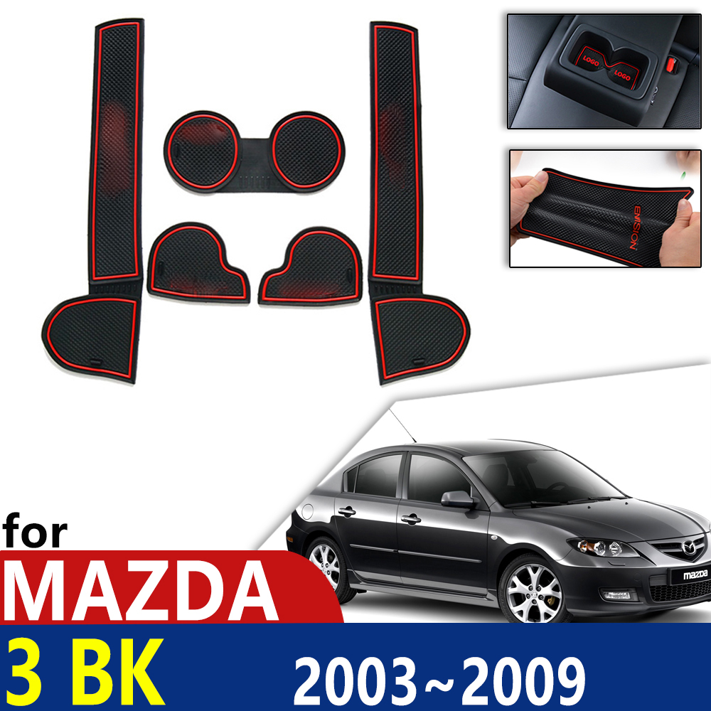 Anti-Slip Rubber Cup Cushion Door Groove Mat for Mazda 3 BK MPS MK1 2003~2009 Sport Dzire Accessories mat for phone 2004 2005