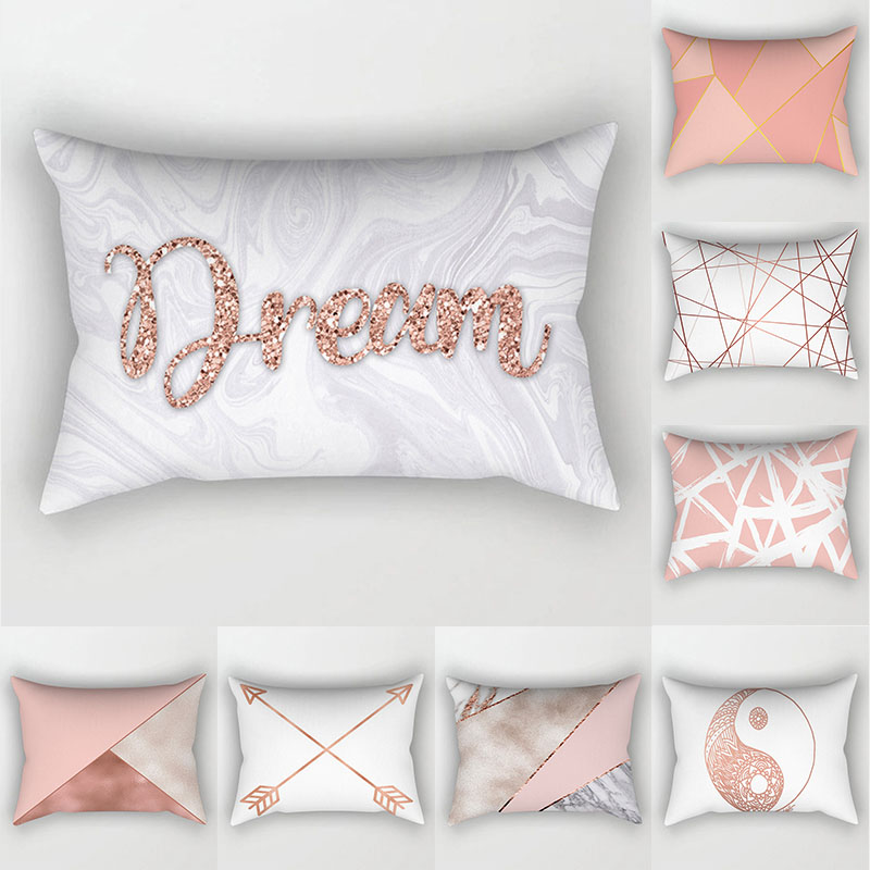 Rose Gold Pillow Cover 30x50 Polyester Cushion Cover Decorative Throw Pillows 11.8x19.6 Inch Pillowcase Sofa Cushions Home Decor