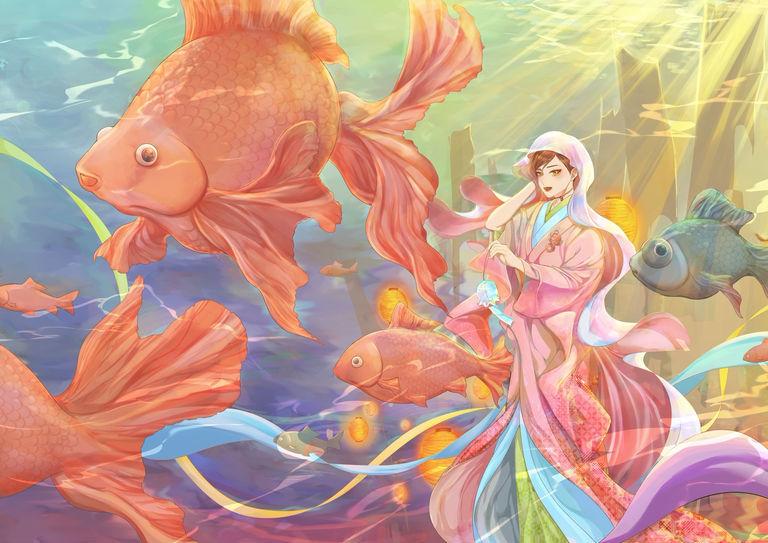 【P站美图】华美游动。金鱼特辑