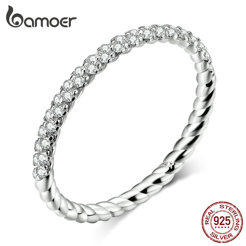 bamoer GXR624 <font><b>Real</b></font> <font><b>925</b></font> Sterling Silver <font><b>Ring</b></font> Zirconia Love <font><b>Ring</b></font> <font><b>For</b></font> <font><b>Women</b></font> Glitter Fine Jewelry Simple & Stylish OL Casual Style image