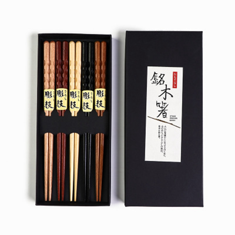 5 Pairs Natural Wood Chopstick Bamboo Chopsticks Reusable Chinese Korean Japanese Wooden Chop Sticks Gift Set Dishwasher Safe