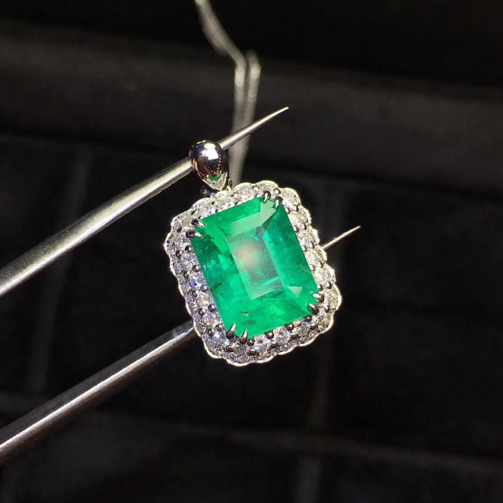 Fine Jewelry Real Pure 18 K Gold Jewelry Natural Vivid Green Emerald Gemstone 3.17ct Luxury Pendants For Women Fine Necklace