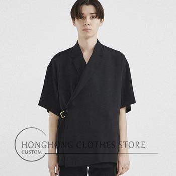 ¡S-6XL! ¡Pista de tallas grandes para hombres! Camisa de manga corta de diseño Original para hombre, camisa de moda holgada negra con doble botonadura para hombre