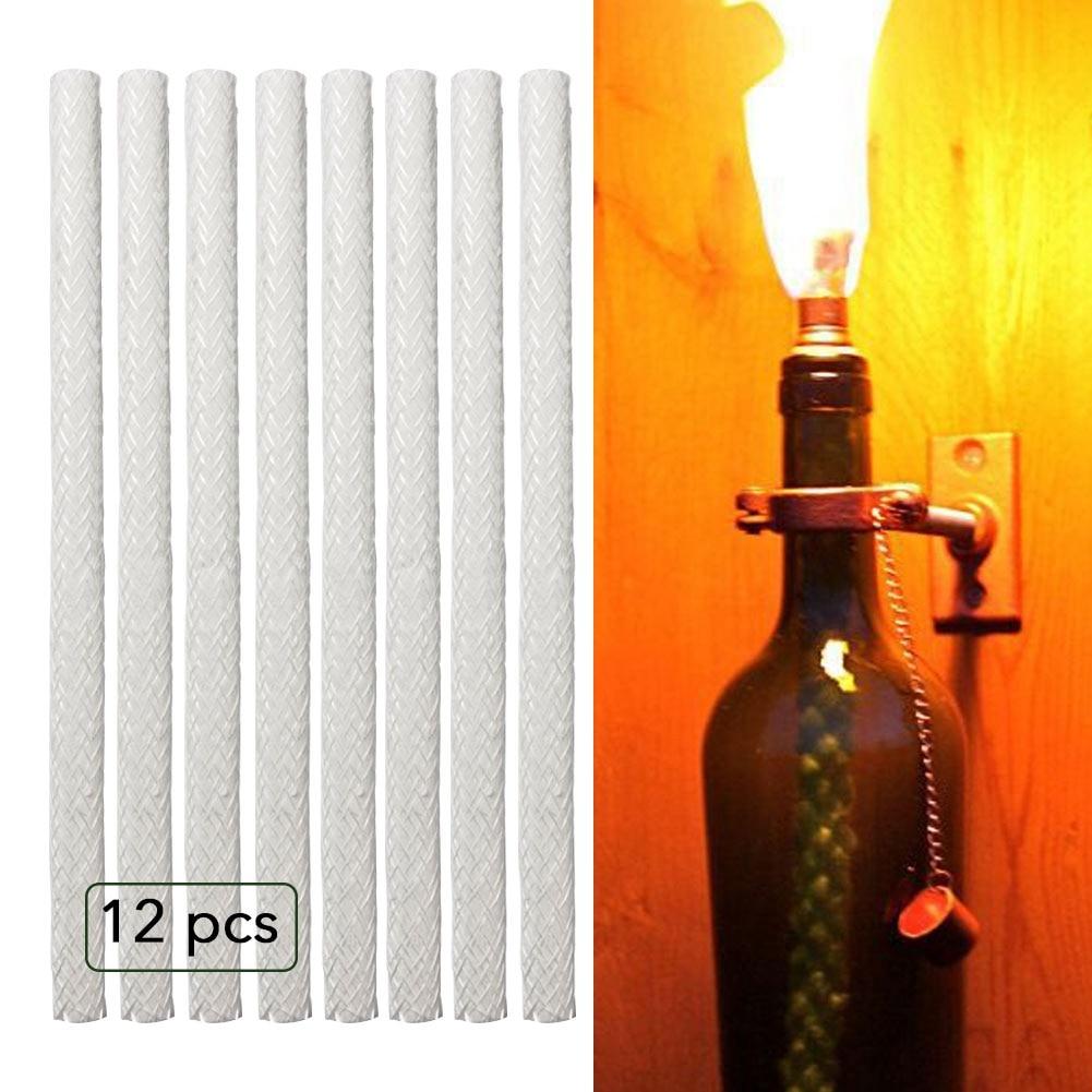 12pcs Replacement Fiberglass Novelty Tiki Wick For Wine Bottle Tiki Torches,Patio Lighting,Garden Light