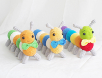 2019 cute handmade large size caterpillar colorful crochet toy gift knitting doll best birthday gift (finished, not diy)