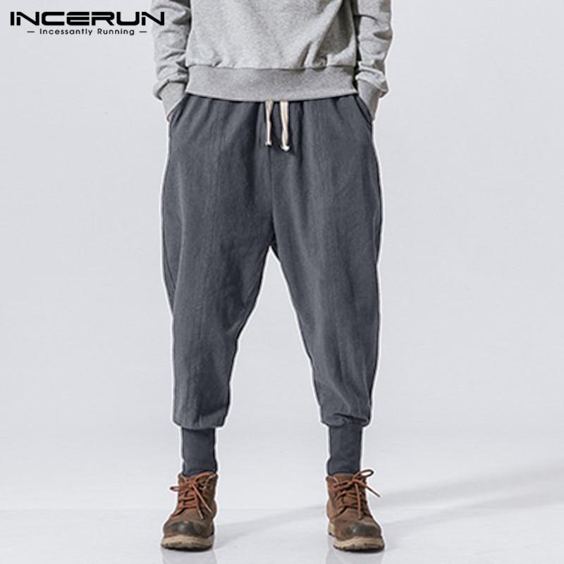 INCERUN Men Harem Pants Drawstring Joggers Solid 2020 Cotton Streetwear Casual Trousers Men Loose Workout Sweatpants Plus Size