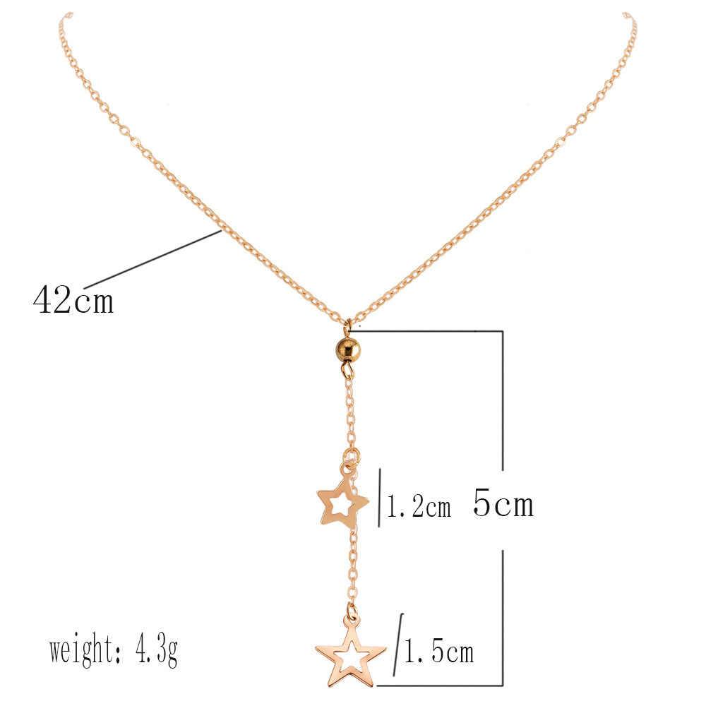 תכשיטים 2019 חדש בוהמי אתני ארוך ציצית זהב כוכב תליון אישיות שרשראות לנשים מודרני אביזרי צווארון