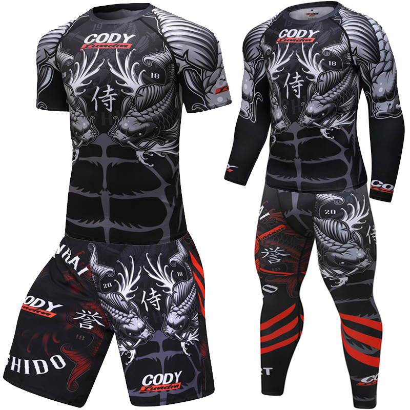Brand New Men's Tracksuit 3D Prints Tight Skin Compression Sport Suit Men MMA Rashguard Body Building Top Fitness Sport Set