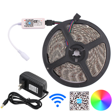 цена на LED Strip RGB Mini Wifi 5 meter set LED Strip Home Decoration Neon Light RGB LED Controller DC 12V Power Adapter for kitchen