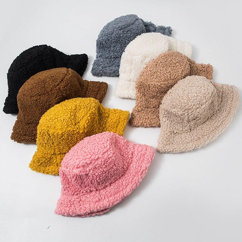 Sombrero de piel Artificial Lisa para mujer, gorro femenino cálido de piel sintética, sombrero de Invierno para mujer, protector solar para exteriores, sombrero para sol, Panamá, sombrero de mujer