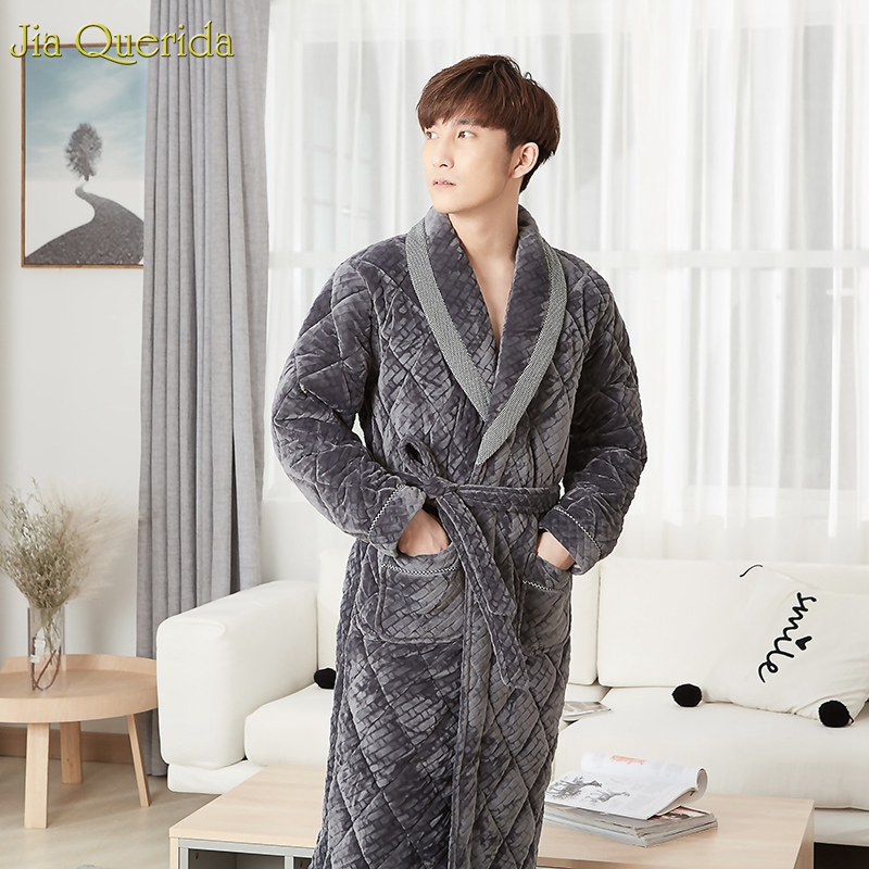 Mens Robe Winter Thick Bathrobes 3 Layer Velvet Robe Embossing Padded Warm Housecoat Long Sleeves Lapel Pocket Kimono Robe Male