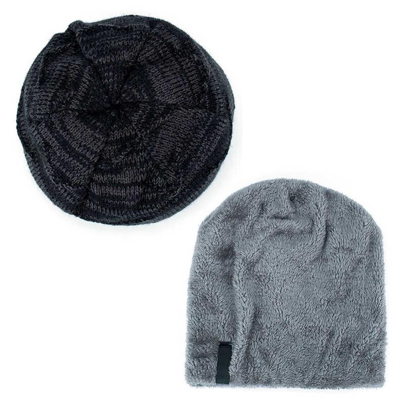 Jesień zima wełna ciepłe czapki Skullies czapki dzianiny bawełniane grube Stocking kapelusze Plus aksamitna Rasta Cap Bonnet dla mężczyzn kobiety