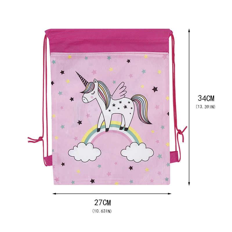 Natal Hadiah Tas Kartun Sekolah Ransel untuk Anak Gadis Unicorn Serut Tas Mahasiswa Tas Sekolah Anak Tas Panas