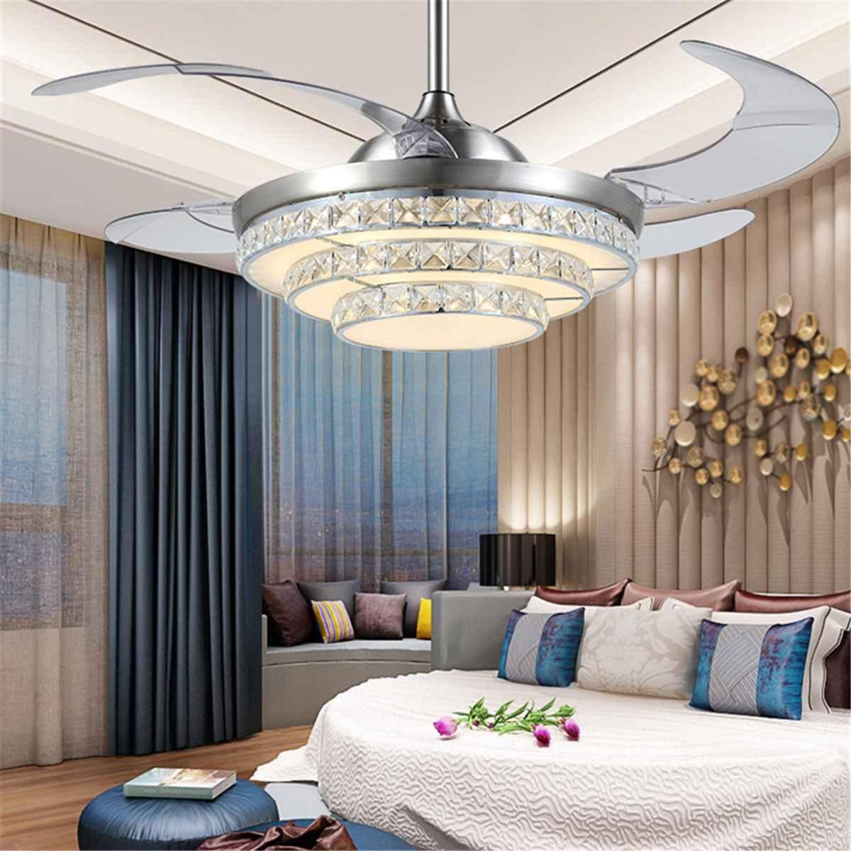42 Inch Invisiable Crystal Ceiling Fan Light Modern Luxury Dining Room Ceiling Fan Lamp 4 Fan Blade Remote Control Ventilador