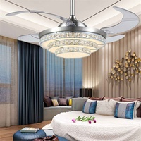 42 Inch Invisiable Crystal Ceiling Fan Light Modern Luxury Dining Room Ceiling Fan Lamp 4 Fan Blade Remote Control Ventilador