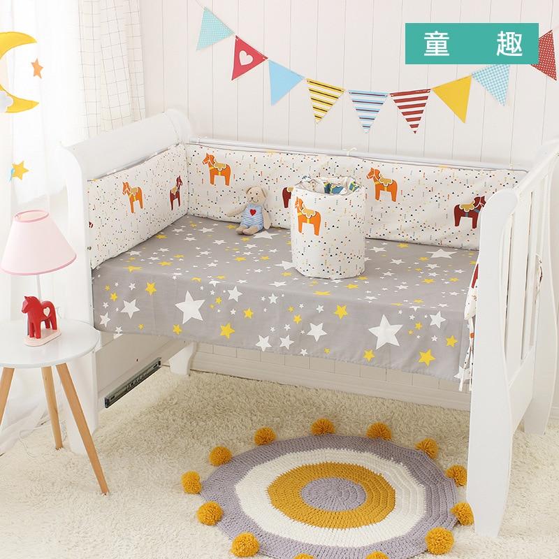 Nordic 4pcs Cot Bumpers +Flat Bed Sheet Cartoon Cotton Children`s Crib Protector Baby Bedding Anti-collision Kids Bedding Set
