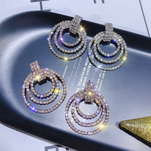 S925 Silver Needle, European and American fashionable  geometric circle embedded earrings ear-decoration women