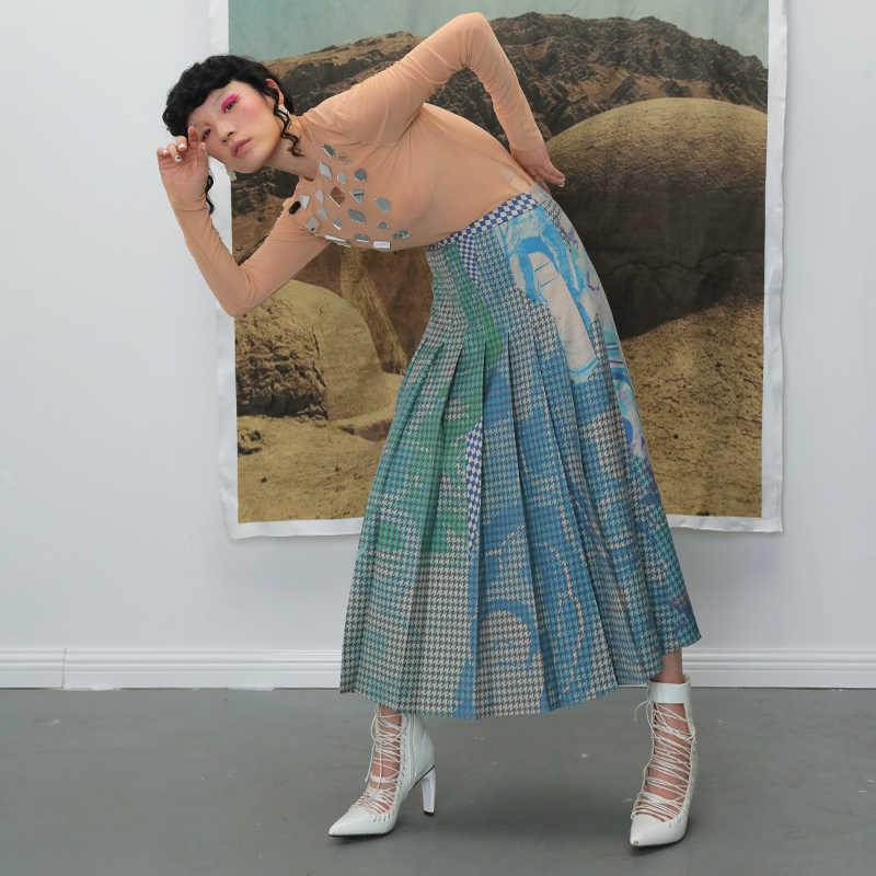 [EAM] плиссированная юбка с высокой эластичной талией и принтом в клетку контрастного цвета, женская модная юбка на половину тела, Новинка весна-осень 2019, 1B741