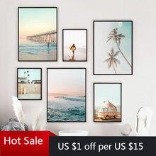 Peinture sur toile avec imprimés d'art De Surf De californie, impression De plage, coucher De soleil, paysage, planche De Surf, décor mural Boho, affiches côtière