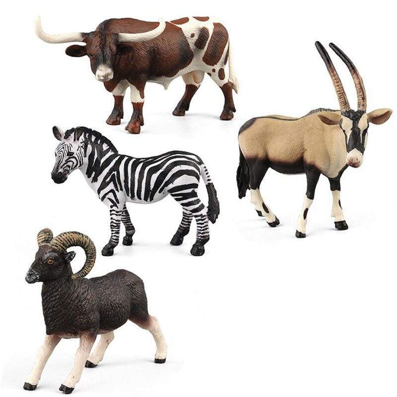 Пластиковая лошадь африканская модель диких животных игрушка антилопа имитация длиннорого буйвола не Schleichs Papoes сейфы игрушки