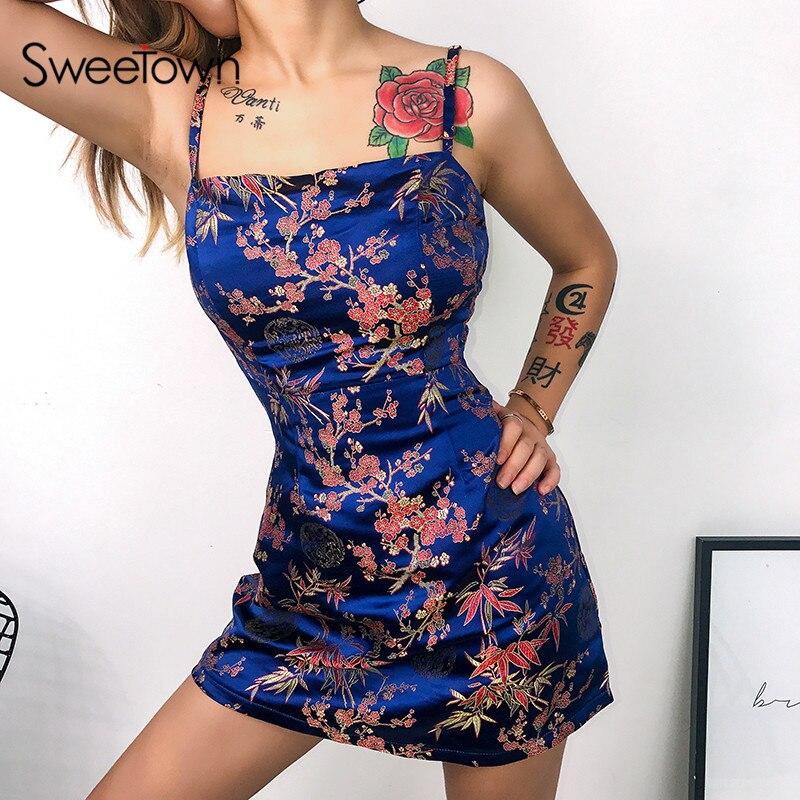 ><font><b>New</b></font> Sexy Summer 2020 Spaghetti Strap Vintage Dress Women Streetwear Floral Printed <font><b>Chinese</b></font> <font><b>Style</b></font> Jacquard Satin Sexy Beach Dress