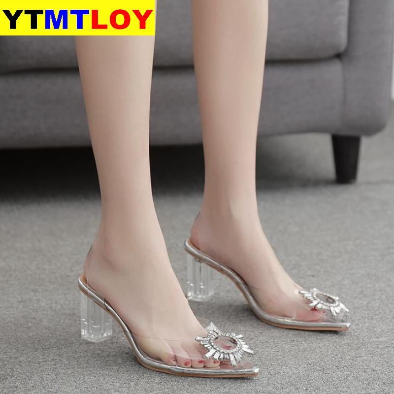 Pvc Clear Transparent Fetish Luxury Designer Woman Extreme Mules Super High Heels Women Sexy Shoes Ladies Pumps Sandals 9CM/7CM