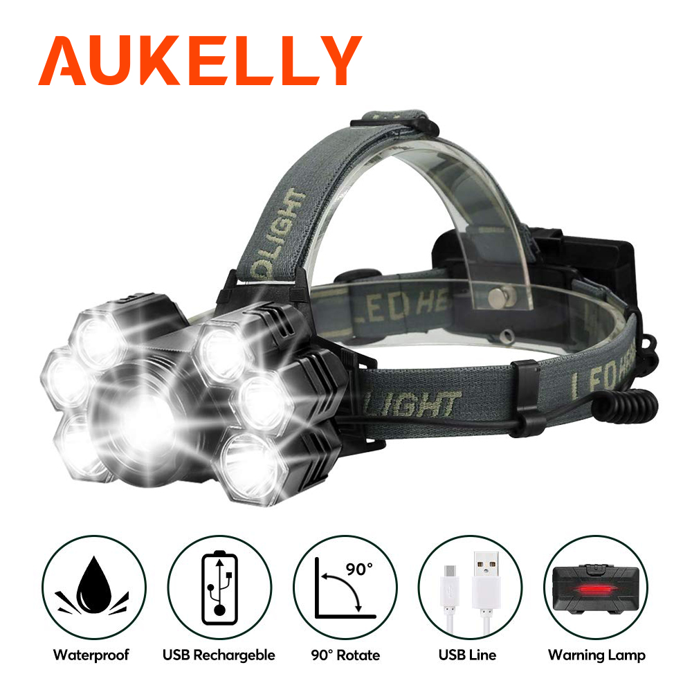 LED USB Rechargeable Headlamp 5 Mode Brightest 12000 Lumen Helmet Light Waterproof Headlights Flashlight With Zoomable Work Lamp