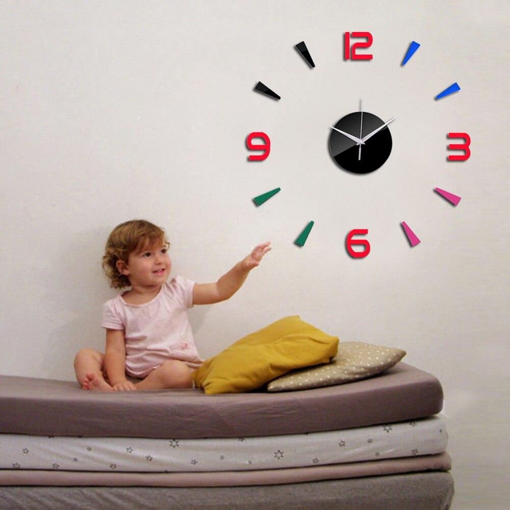 3D Wall Clock Acrylic Mirror Wall Stickers Modern DIY Wall Clocks Home Decor Living Room Quartz Needle reloj de pared 2020 NEW 4