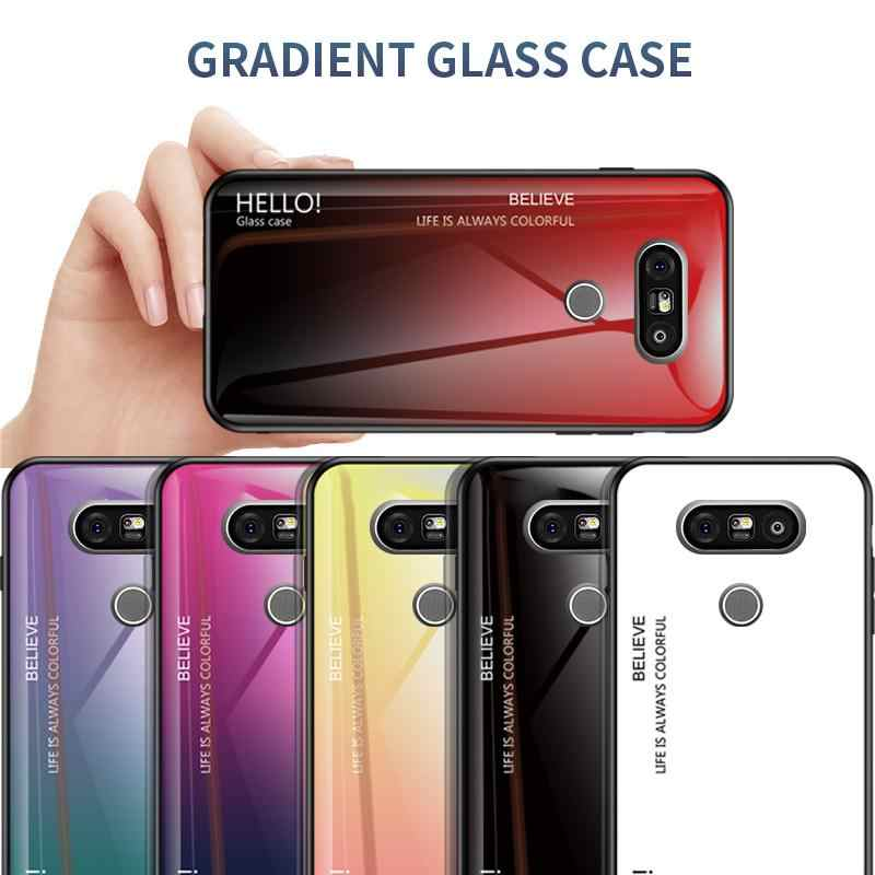 Ốp Lưng Điện Thoại LG G8 G7 G6 G5 Kính Cường Lực Chống Sốc Dành Cho LG G5 G6 G7 G8 Gradient Màu kính Cường Lực Bóng Bảo Vệ Fundas