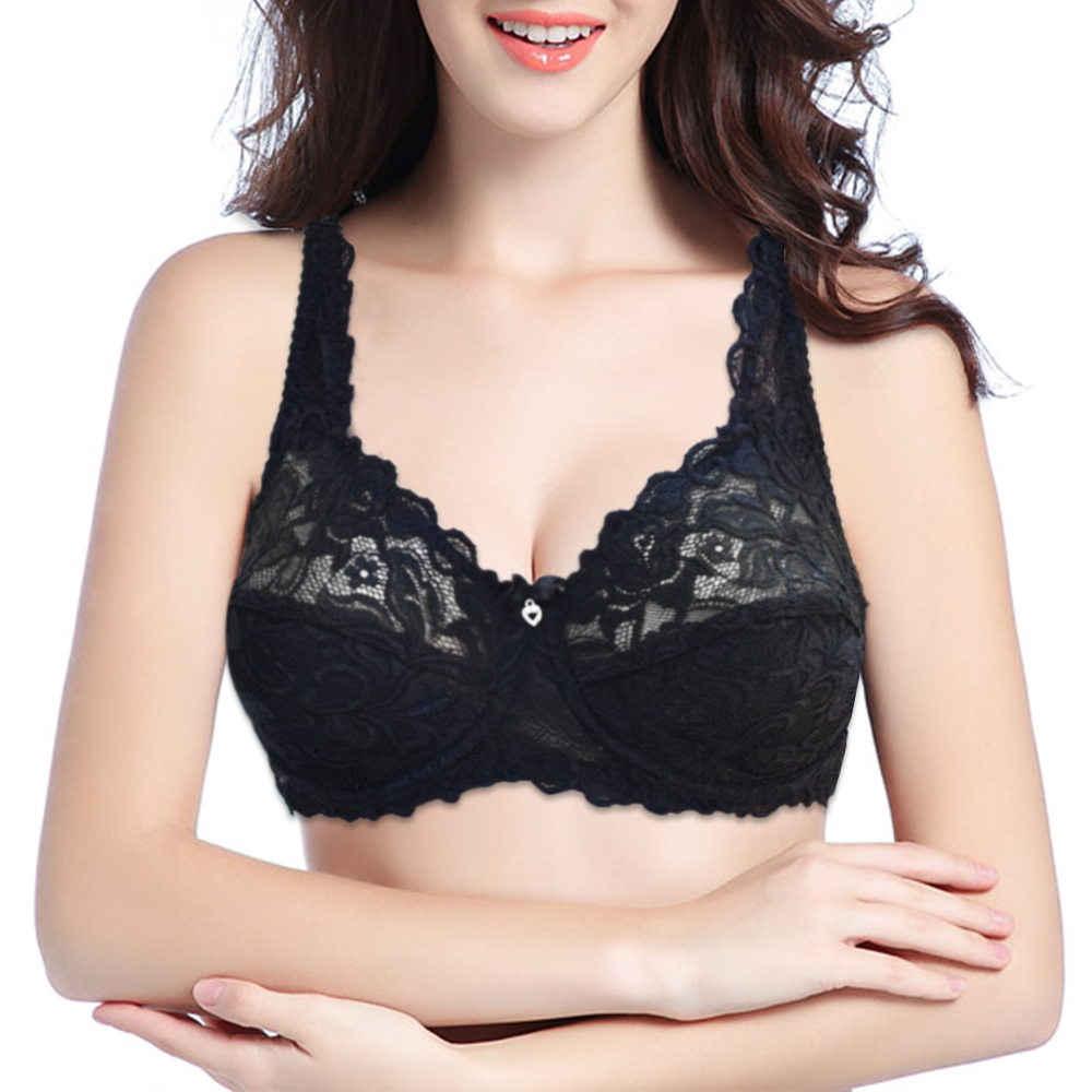 Womens Lace Bras Underwired Large Brassiere Applique Sexy Bra Lingerie Tops Female Plus Size Bralette 2