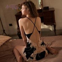 Plus rozmiar seksowna bielizna koszula nocna kobiet wiązanie na plecach Hollow koronkowa, jedwabna koszula nocna z majteczkami pokusa Dropshipping