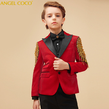 Formal Children's Suit for boys Red/Gold baby boys suit kids