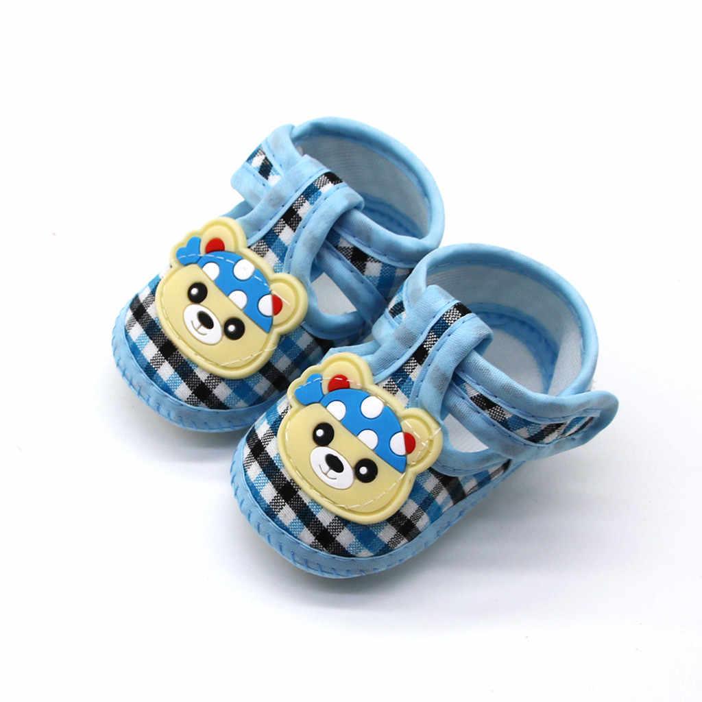 Zapatos de bebé recién nacido 1 año bebé recién nacido Niño Zapatos de dibujos animados suave cuadros bebé niña botines 2019 en primer lugar los caminantes