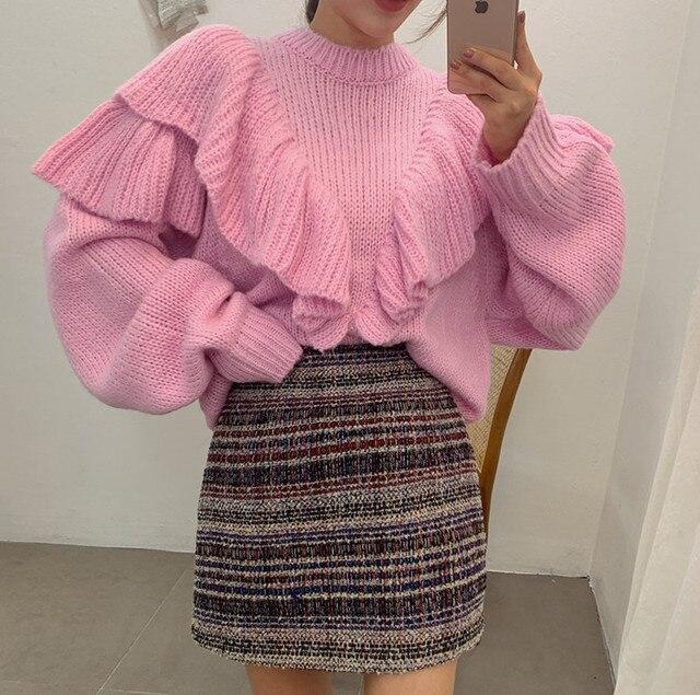HAMALIEL, корейский шик, розовый вязаный пуловер, джемпер, модный, Осень-зима, с оборками, рукав-фонарик, свободный, теплый свитер, топы