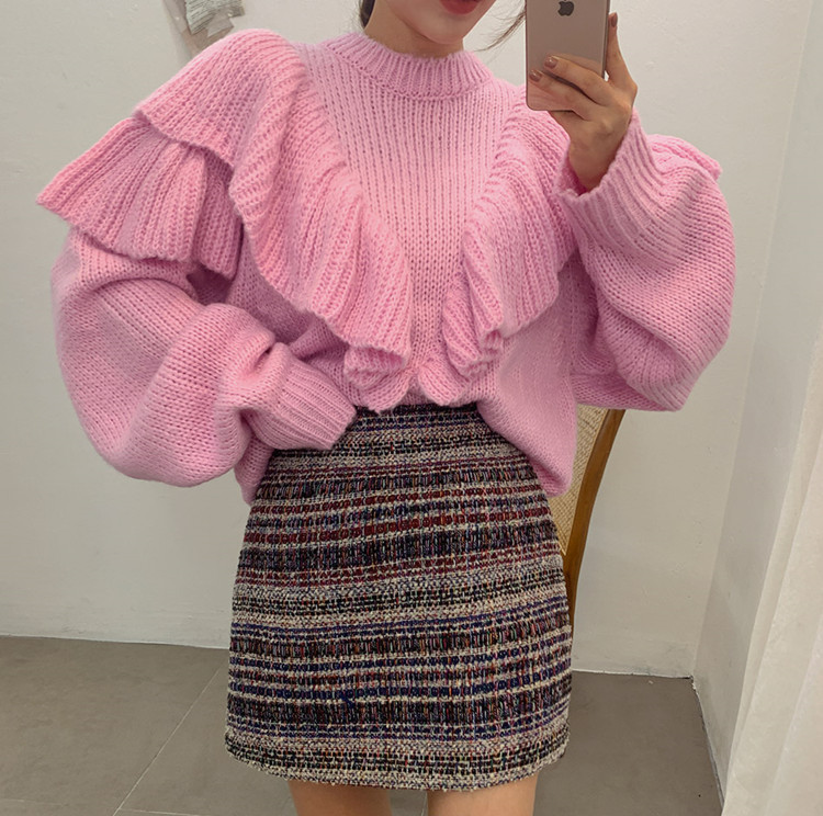 HAMALIEL Korean Chic Pink Knitted Pullover Jumper Fashion Autumn Winter Ruffles Lantern Sleeve Oversize Loose Warm Sweater Tops