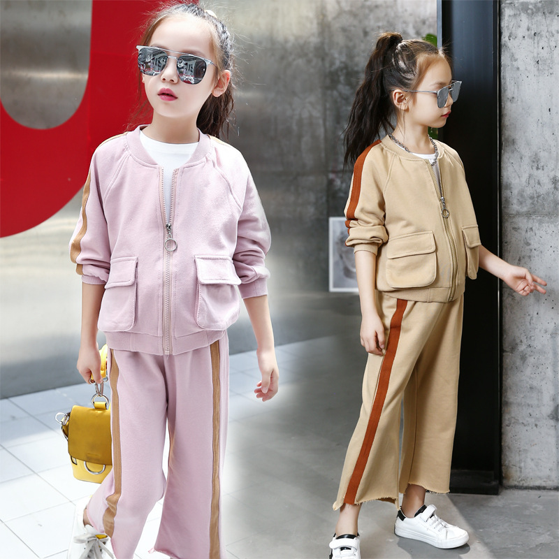Girl Clothes Set Spring AutumnTeenagers Pink Jackets Coat + Wide Leg Pants 2pcs Tracksuit Baseball School Uniform Suit for Girls
