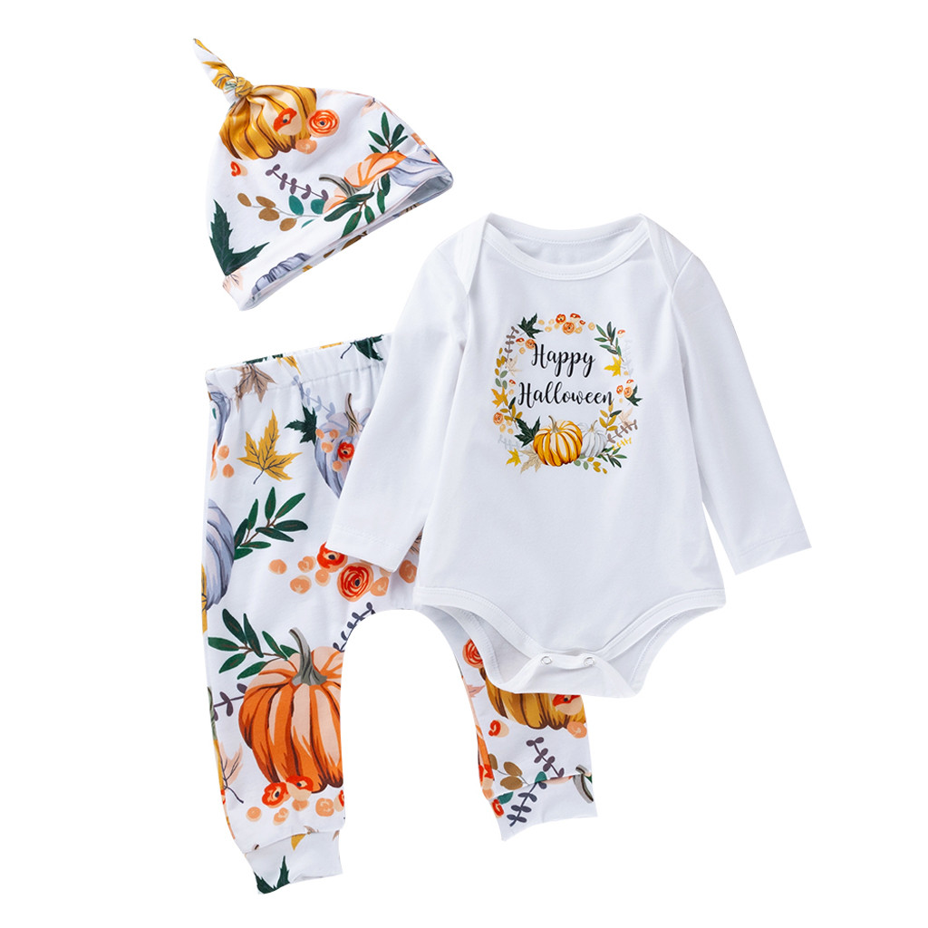 Boys Halloween Pants Outfits Print Cosplay Girl Toddler Baby Kid for Costume Romper Trousers-Hat-Set