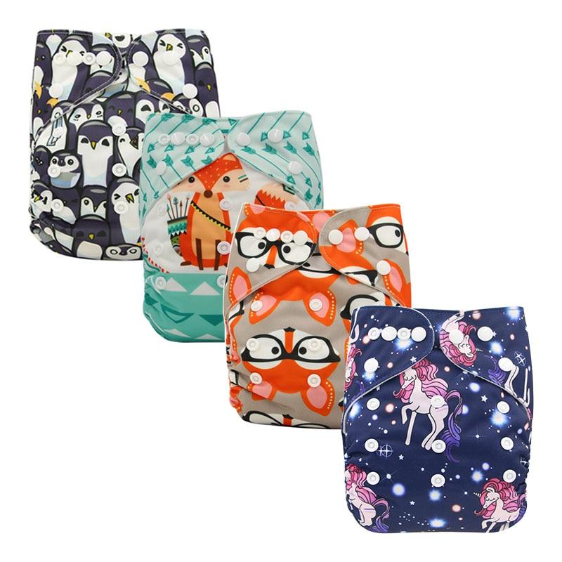 Ohbabyka 4PCS/SET Washable Cloth Diaper Newborn Adjustable Baby Nappy Reusable Cloth Diaper Cover Waterproof Merries Fit 3-15kg