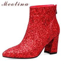 Купить с кэшбэком Meotina Autumn Ankle Boots Women Glitter Thick Heels Short Boots Zipper Super High Heel Wedding Shoes Lady Winter Red Size 34-43