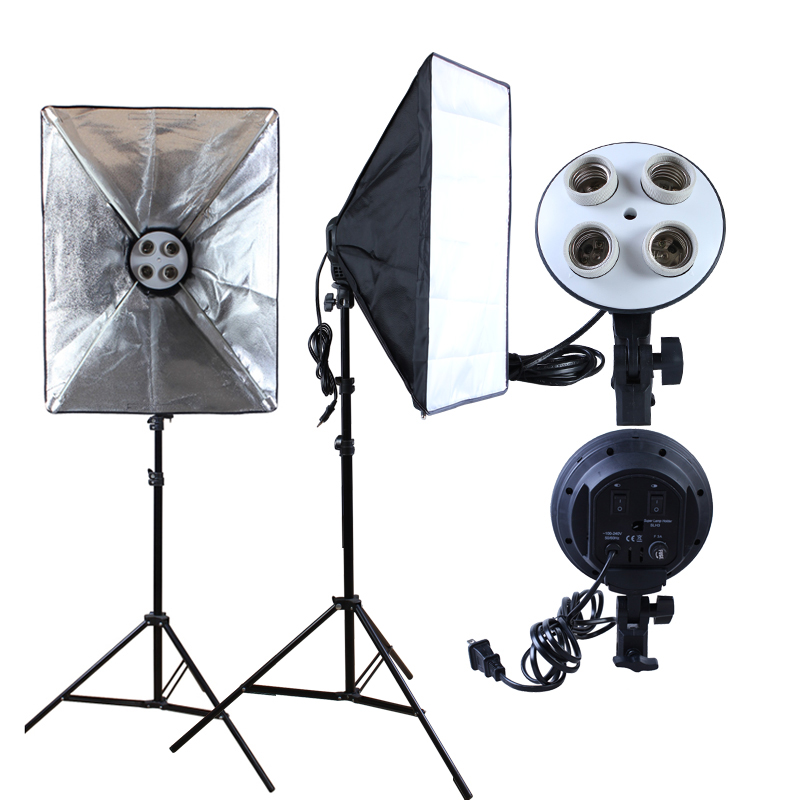 Photo Studio 50*70cm Softbox Continuous Lighting Diffuser 4 In 1 E27 Socket Lamp Holder With 2Pcs Light Stand For Selfie Video