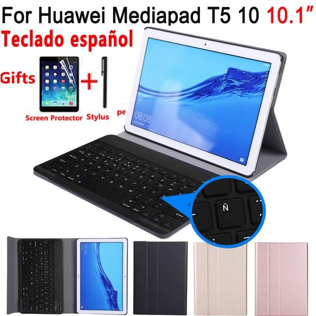 Tây Ban Nha Bàn Phím Dành Cho Máy Tính Bảng Huawei Mediapad T5 10 10.1 AGS2 L09 AGS2 W09 AGS2 L03 Dành Cho Huawei T5 10.1 Bàn Phím Funda