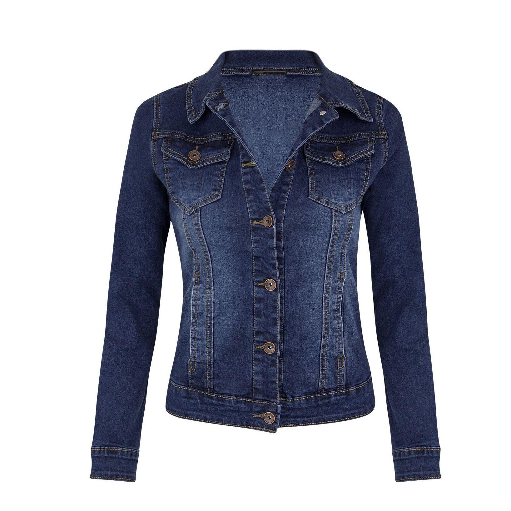Women Denim   Jacket   Slim Jean Coat Streetwear Vintage   Basic     Jacket   Outerwear