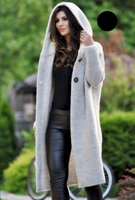 Women Long Cardigan Solid Knitted Hooded Sweater 2021 Autumn Winter Female Coat Plus Size 5XL Casual Streetwear Loose Coat 2