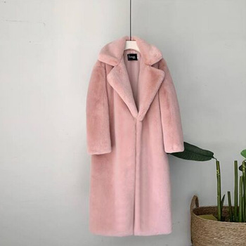 New Women Winter Warm Faux Fur Coat Thick Women Long Coat Turn Down Collar Women Warm Coat With Belt Casaco Feminino 1
