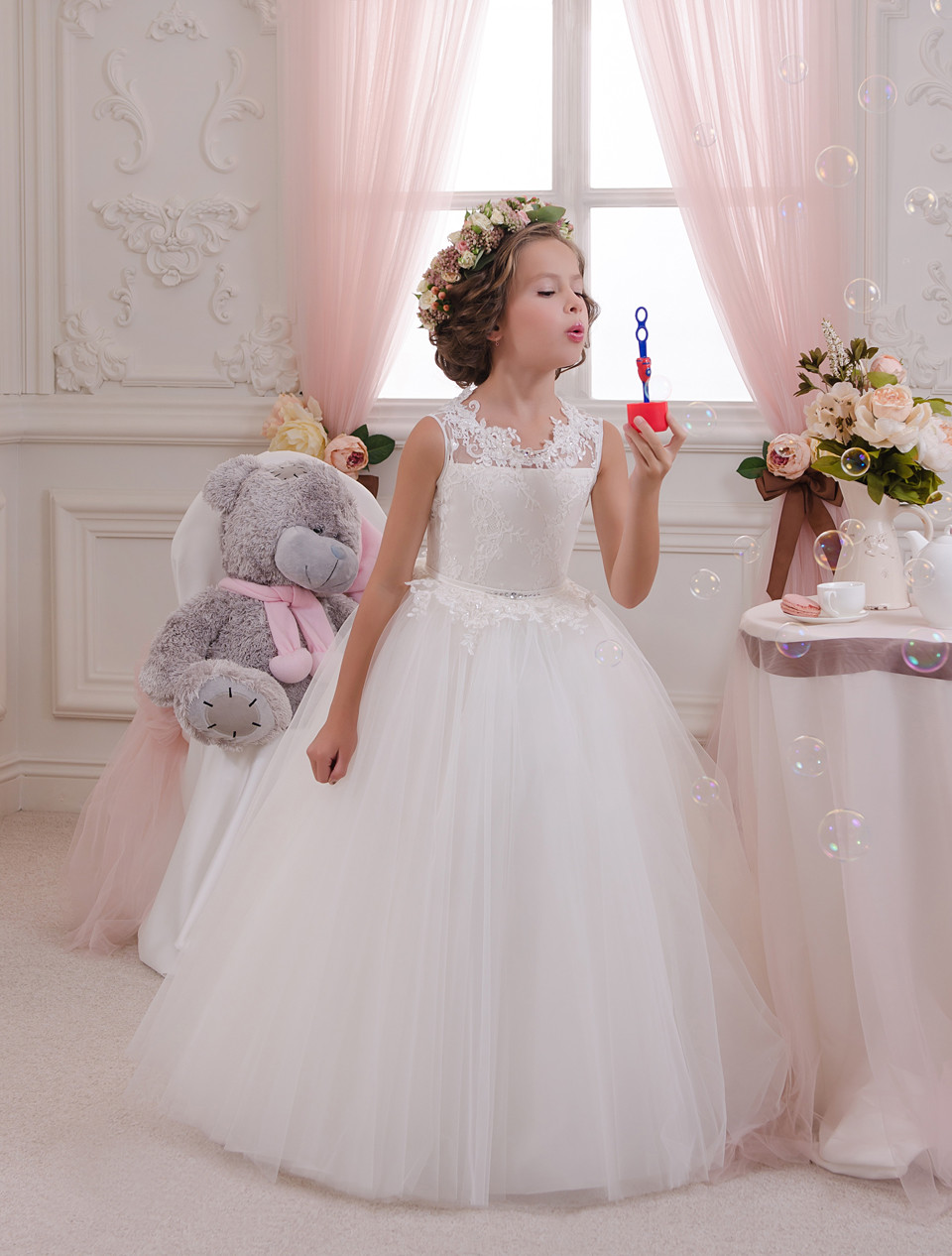Cute 2019   Flower     Girl     Dresses   For Weddings Ball Gown Tulle Appliques Lace Beaded Bow Long First Communion   Dresses   Little   Girl