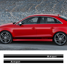 La puerta del coche falda lateral pegatinas de calcomanías para Audi A4 B5 B6 B7 B8 B9 A3 8P 8V 8L A6 C6 C5 C7 A5 A1 8X A7 A8 Q5 Q7 Q3 Q1 TT Accesorios