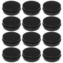 12 шт 1 унций черные алюминиевые жестяные банки с круглой винтовой крышкой Пустые контейнеры металлические банки для хранения для организации косметических небольших ювелирных изделий Orna