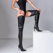 SEIIHEM SEXY Women Over Knee High Boots Side Zip Stiletto Heels Thigh High Boots Ladies Party Shoes Woman Large Size 34 43 44 47 sorbern sexy buckle straps women boots 20cm extreme high heels thick platforms woman s summer shoe over knee boots womens 2018