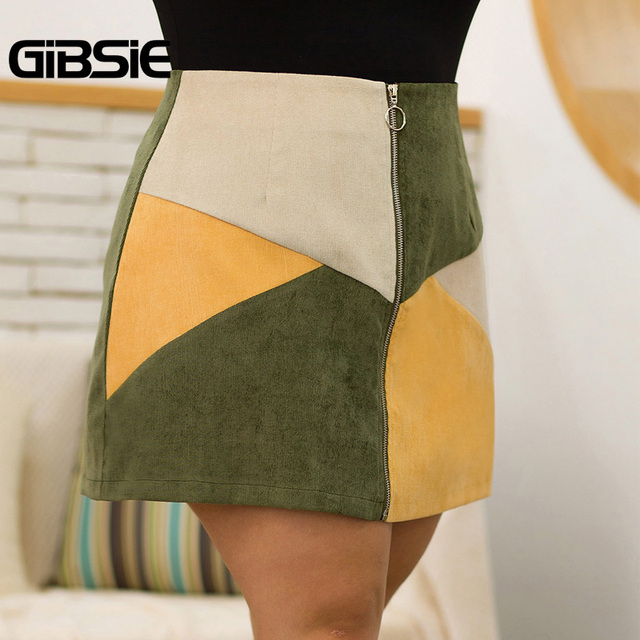 GIBSIE Autumn winter Fashion Color Block Women Skirt Plus Size O-ring Zipper High Waist Skirts Female Casual Office A-line Skirt 1