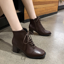 Купить с кэшбэком freeshipping2019 Autumn locomotive Martin boots British style flat bottom square head lace up side zipper Middle tube womenshoes